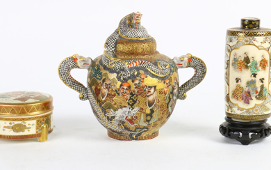 Japanese Satsuma Kogo, Bottle, Teapot