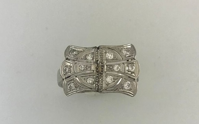 Knot ring in platinum and white gold 750°/°°°...