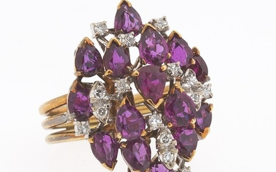 Ladies' Vintage Gold, Rubilite and Diamond Cluster Ring