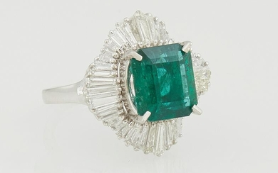 Lady's Platinum Dinner Ring, with a 4.01 ct. emerald