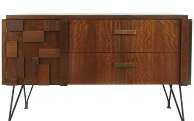 Lane Midcentury Block Front Brutalist Cabinet with Iron