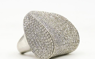 Large 18k Gold and Pave Diamond Ring