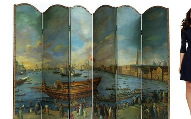 Large Hand Painted Folding Screen, Oil on Board
