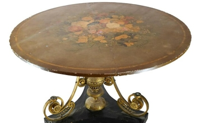 Large Painted Marble Top Pedestal Table