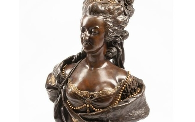 Large Patinated and Dore Bronze Bust of Marie