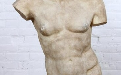 Life Sized Neoclassical Carved Marble Male Torso