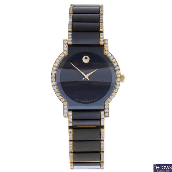 MOVADO - a lady's 18ct yellow gold Museum bracelet watch.