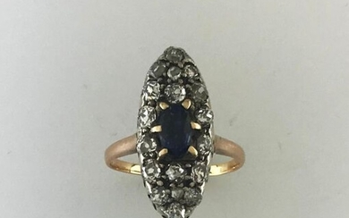 Marquise ring in gold 750°/°°° and silver set with a sapphire enhanced with diamonds TA, Fine 19th century workmanship, Finger size 55, (grindings), Gross weight: 4,27g