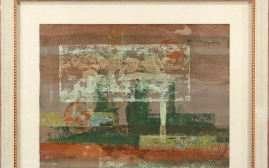 """Mid-Century Modern Abstract Watercolor """"Europort"""""""