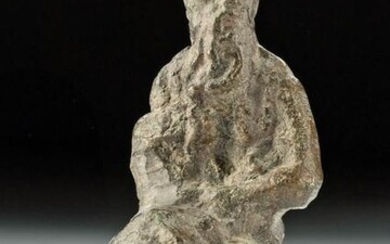 Miniature Medieval Leaded Bronze Seated Male