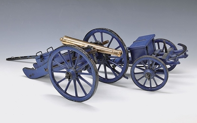 Model cannon, around 1900, wood blue painted,...