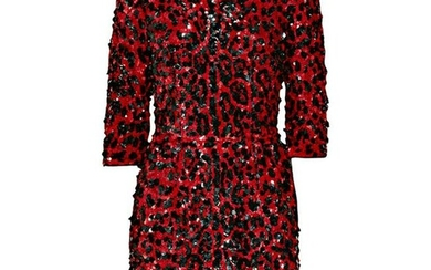 NEW DOLCE & GABBANA RED SEQUINED SILK LEOPARD PRINT