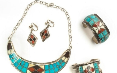 Native American Indian Gem Inlaid Silver Jewelry
