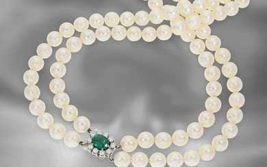 Necklace: formerly very expensive double row vintage Akoya cultured pearl necklace with emerald/brilliant clasp, 18K white gold