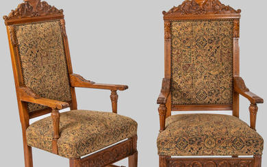 Neoclassical Style Carved Oak Armchairs