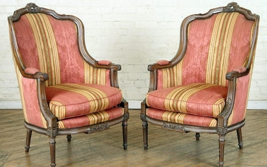 PAIR PAINTED & CARVED MAHOGANY FRENCH BERGERES