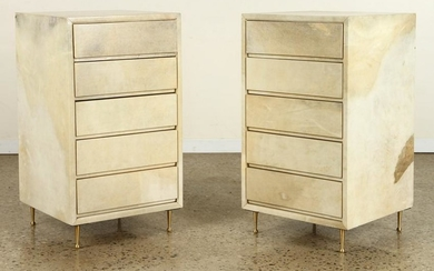 PAIR PARCHMENT COVERED CABINETS BRASS LEGS C.1960
