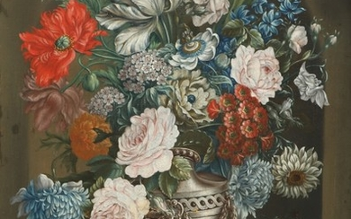 Painter unknown, circa 1900: Still-life with flowers in a vase on a console. Unsigned. Oil on canvas. 68×50 cm.