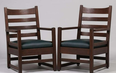 Pair Early Gustav Stickley #2604 Ladderback Armchairs