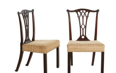 Pair George III carved mahogany side chairs (2pcs)