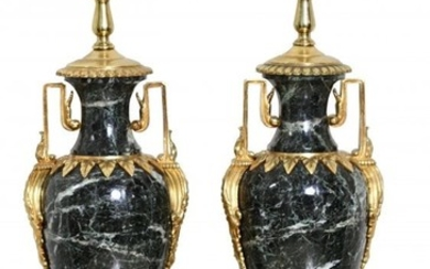 Pair Louis XVI Style Gilt Bronze & Black Marble Lamps