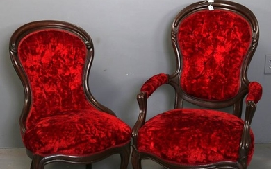 Pair Victorian Carved Walnut & Velvet Parlor Chairs