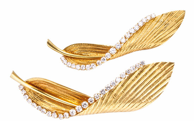 Pair of 18kt Gold and Diamond Feather Brooches, Cartier
