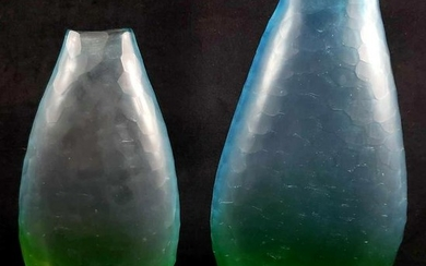 Pair of 2 Ombre Faceted Frosted Glass Flattened Vases