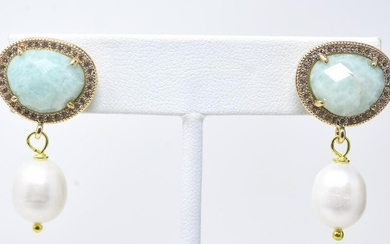 Pair of Aventurine & Baroque Pearl Earrings