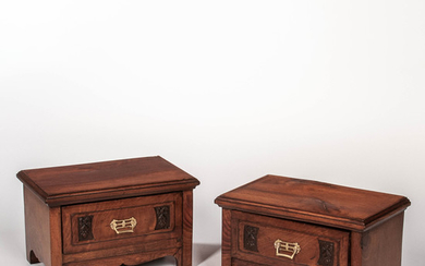 Pair of Diminutive Walnut Cabinets