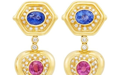 Pair of Gold, Sapphire, Pink Sapphire and Diamond Pendant-Earrings