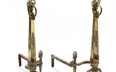 Pair of Neoclassical Style Figural Brass Andirons