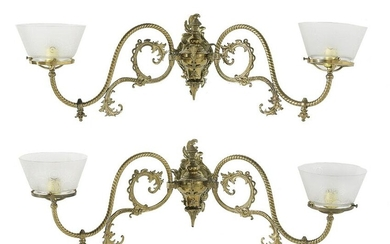 Pair of Victorian Brass and Glass Sconces