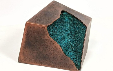 Patinated Steel Table Sculpture. Modernist twisted cube