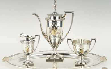 Pompeiian Sterling Bachelor Tea Set and Sterling Tray