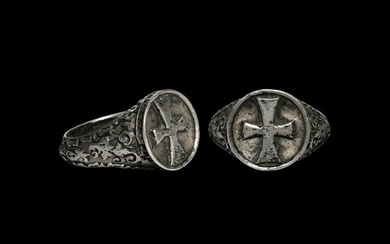 Post Medieval Silver Ring with Cross