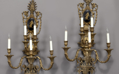 Pr. French 5-light bronze & patinated wall sconces