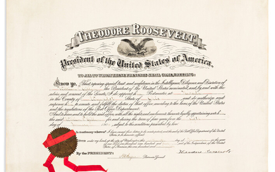 ROOSEVELT THEODORE Partly printed Document Signed as Preside