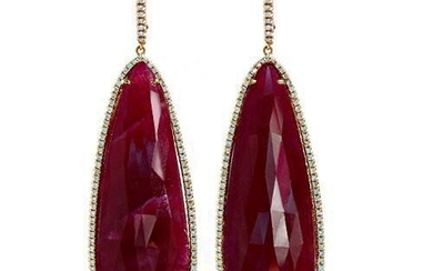 Ruby Slice Teardrop And Diamonds Set In 18K Rose Gold
