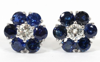 SAPPHIRES & DIAMONDS, GOLD, CLUSTER, POST EARRINGS