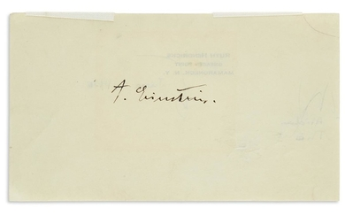 "(SCIENTISTS.) EINSTEIN, ALBERT. Signature, ""A. Einstein,"" on a slip of paper"