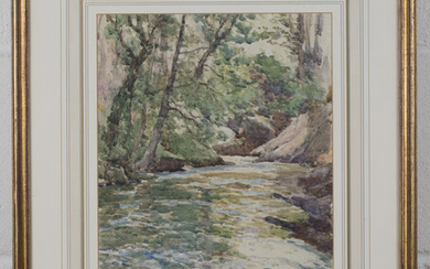 Samuel John Lamorna Birch - View along a River, watercolour, signed in ink, 35cm x 25cm, within a gi