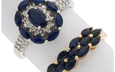 Sapphire, Diamond, Gold Rings The lot includes a ring...