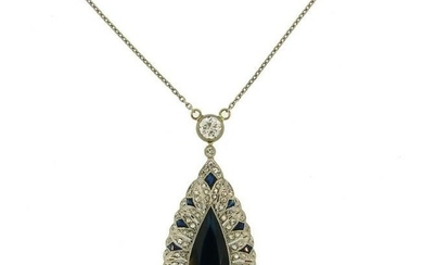 Sapphire Diamond Platinum Yellow Gold PENDANT Necklace