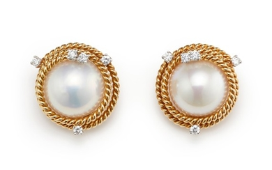 Schlumberger for Tiffany & Co., A Pair of Mabé Pearl, Diamond and Gold Earrings