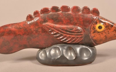 Seagreaves Hand-Molded Redware Fish-Form Whistle.