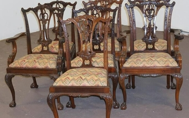 Set British Chinese Chippendale Style DiningChairs