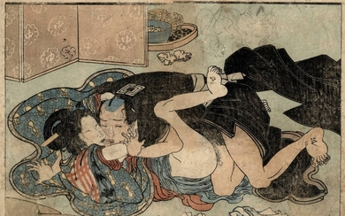 [Shunga]. Kunisada (1786-1865). (Couple in erotic embrace). (A...