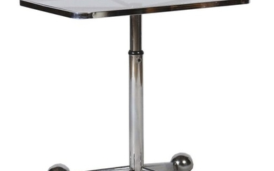 Side table Allegri Arredamenti Parma/Italy, ca. 1990s, four-legged base with large, round roller covers, height adjustable, round leg with adjusting screw, tinted glass top in rectangular, chrome-plated border, LxDxH: 70/42/56-86 cm. Part. Traces of use.