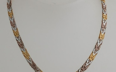 Silver plated choker, 925/000, with 3 colors of gold